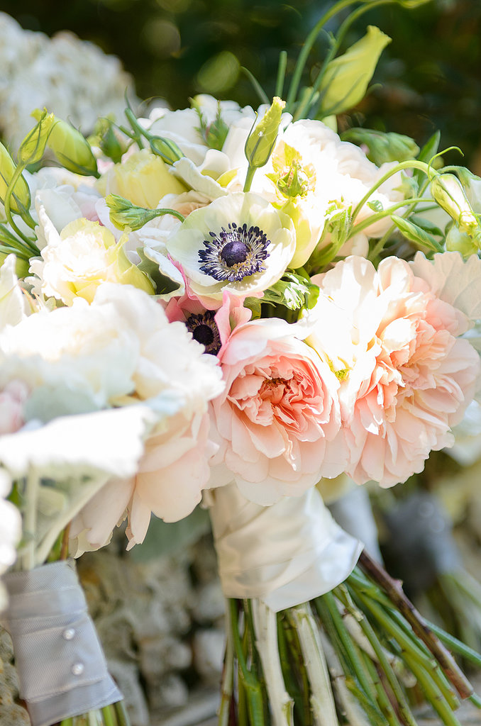 The flowers comprised mostly greens and creams with a touch of pinks and peaches that were carried throughout the ceremony and reception.  Source: Juliette Tinnus