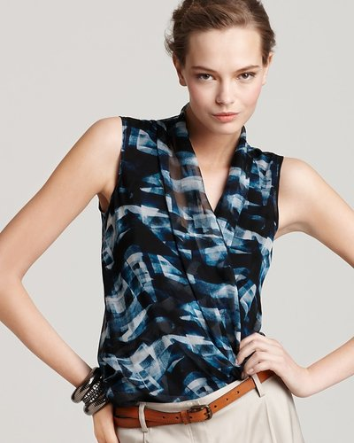 Theory Top - Exclusive Derona Cubist Plaid