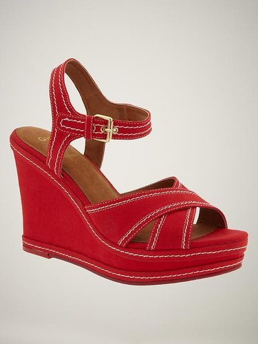 Contrast-stitch wedge sandals