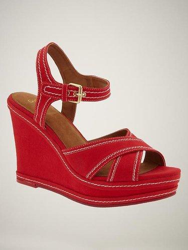 Contrast-stitch wedge sandals