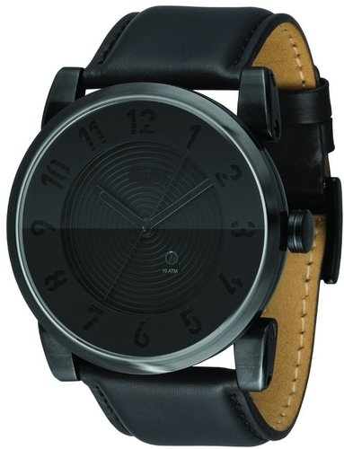 Vestal Men's DOP003 Doppler Oversized Matte Black Ion-Plated Case Black Leather Watch