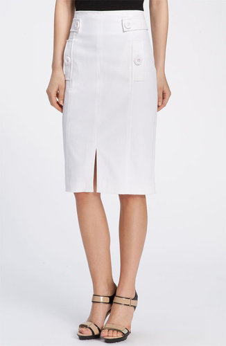Magaschoni Button Tab Stretch Twill Skirt