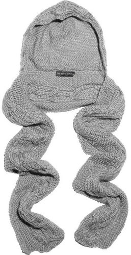 The North Circular Cable-knit wool hooded scarf