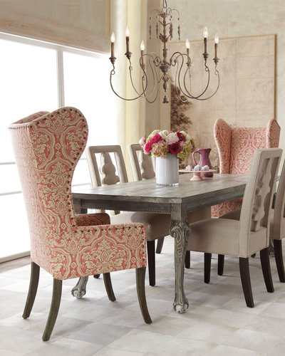 """Haute House """"Liday"""" Dining Table, """"Benjamin"""" Carved-Back Chair, and Pink Damask Wing Chair"""