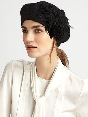 Feathered Knit Wool Beret