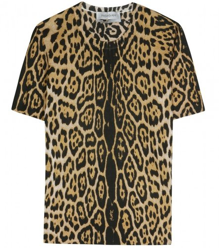Saint Laurent ANIMAL PRINT CASHMERE SILK KNIT TOP