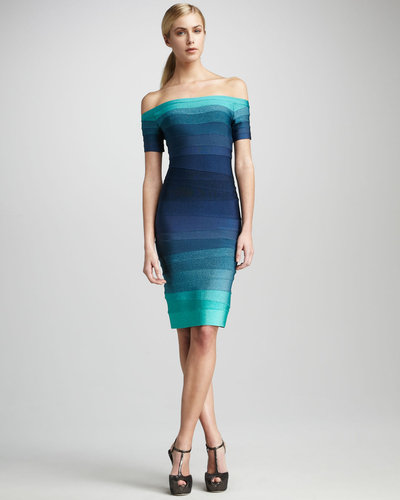 Herve Leger Ombre Off-The-Shoulder Bandage Dress
