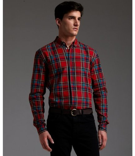 Marc by Marc Jacobs ruby red tartan plaid cotton 'Charlie' button down collar shirt