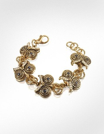 Alcozer &amp; J Owl - Brass &amp; Crystal Bracelet