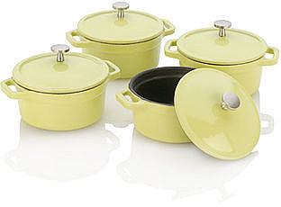 Michelle B by Fagor Mini Dutch Oven Set, .25 Qt. Lemon Lime Set of 4