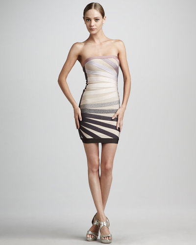 Herve Leger Strapless Rays Dress
