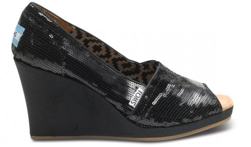 Black sequins women's wedges