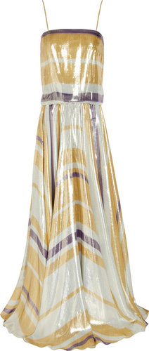 Lanvin Striped silk-blend lam gown