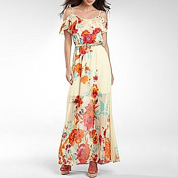 Bisou Bisou® Off-the-Shoulder Floral Maxi Dress