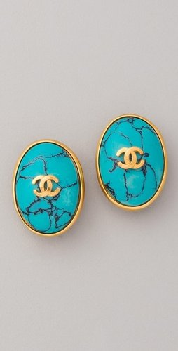 Wgaca Vintage Vintage Chanel CC Turquoise Earrings