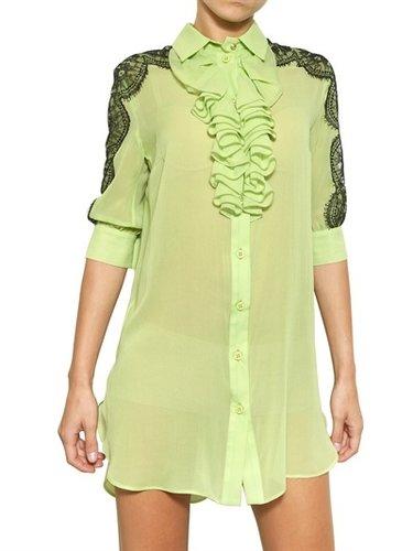 Francesco Scognamiglio - Lace On Silk Chiffon Shirt