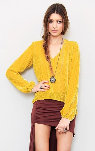 blu moon Mustard Burnout Blouse