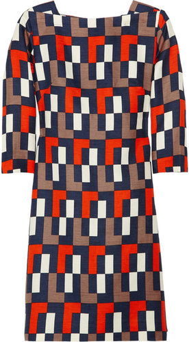 Milly Julia geometric-print linen-blend dress