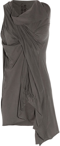 DRKSHDW by Rick Owens Asymmetric draped cotton-jersey tunic
