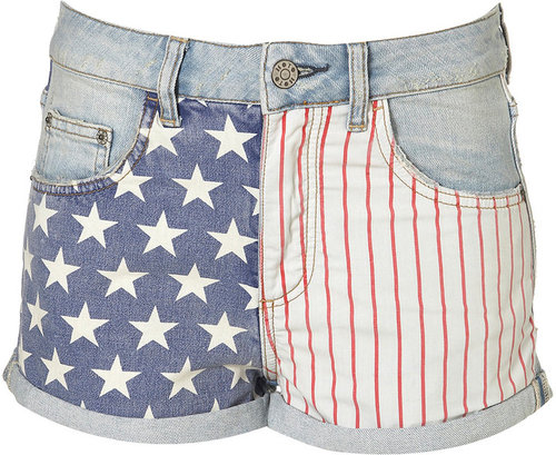 MOTO Bleach Flag Print Hotpants