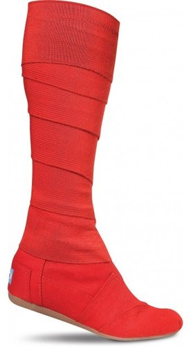 Red vegan women's wrap boots