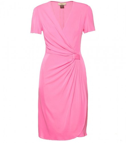 Issa SOLID DRAPED SILK WRAP DRESS