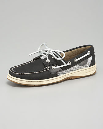 Sperry Top-Sider Bluefish Plaid-Detail Boat Shoe