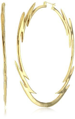 HAN CHOLO &quot;Precious Metals&quot; Gold Color Lightning Bolt Hoop Earrings