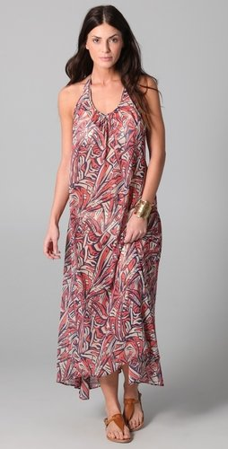 Josa Tulum Chiffon Low Back Halter Cover Up Dress