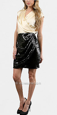 Champagne sequin skirt cocktail dresses by Alexia Admor