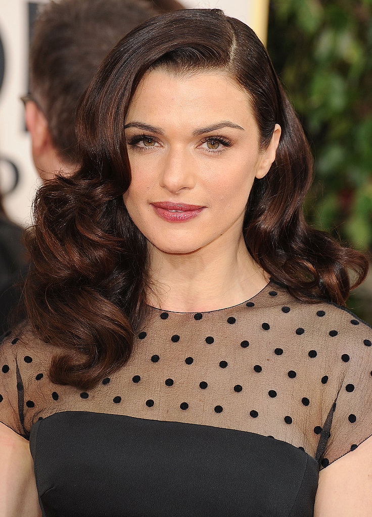 At this year's Golden Globes, Rachel was a vision in sideswept curls and berry lips.