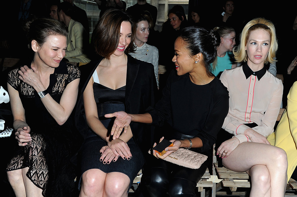 Renée Zellweger, Rebecca Hall, Zoe Saldana, and January Jones made the Miu Miu show a girls' day on Wednesday in Paris.