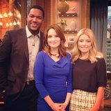 Tina Fey stopped by Live With Kelly and Michael. Source: Twitter user michaelstrahan
