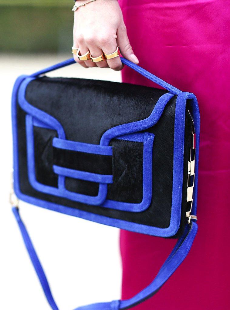 Pierre Hardy's cobalt blue satchel popped against a fuchsia backdrop.