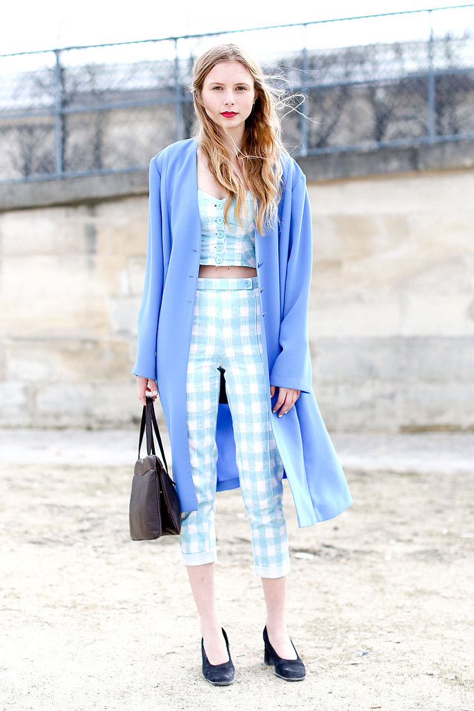 Checkered separates lent a retro feel to this bit of street style.