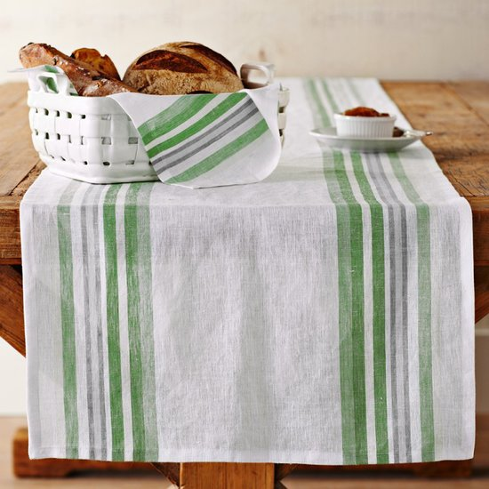 Make sure your table doesn't get nicked with this green striped table runner ($60).