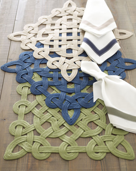 These ribbon place mats ($42) evoke traditional Celtic design.