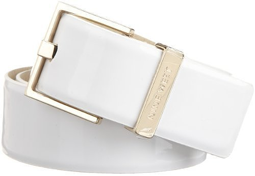 Nine West Women's 1 1/2 Inch Feathered Edge Patent Panel Belt