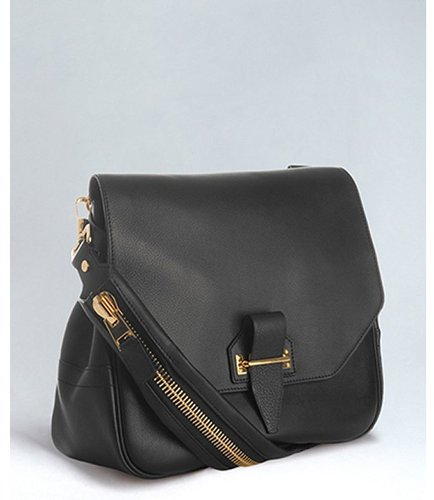 Tom Ford black leather zipper detail shoulder bag