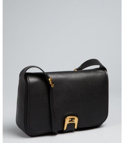 Fendi black textured leather 'Chameleon' shoulder bag