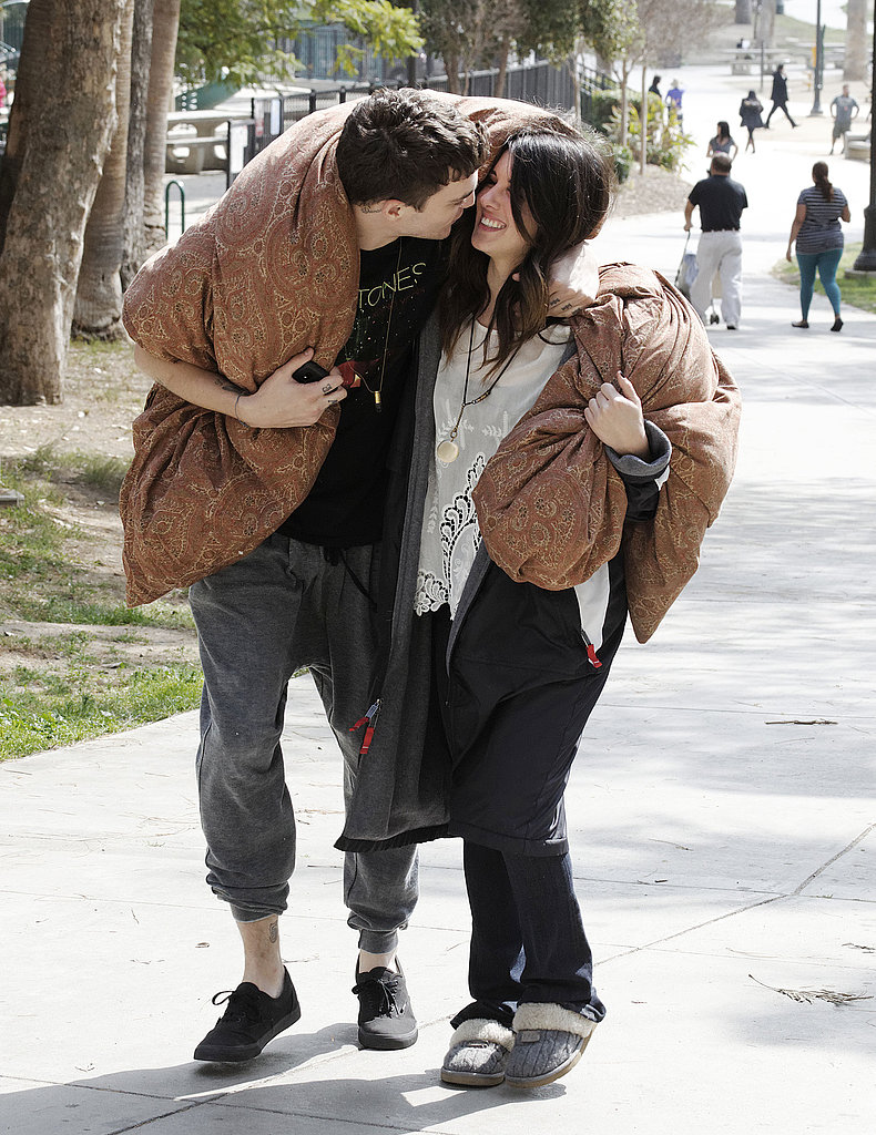 Shenae Grimes spent some downtime cuddling up with her fiancé, Josh Beech, on the set of 90210 in LA on Monday.