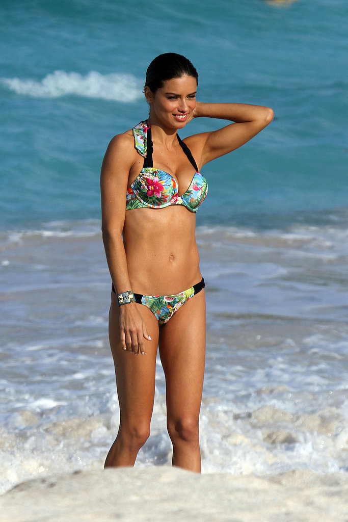 Adriana Lima struck the perfect pose modeling a sexy bikini for Victoria's Secret during her January 2011 St. Barts catalog shoot.