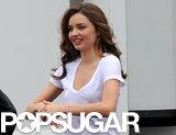 Miranda Kerr filmed a commercial on location in LA.
