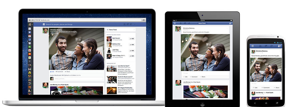 "One of Facebook's main initiatives announced today is a ""mobile consistent"" user interface. The new desktop News Feed is mobile-inspired, with content filling up more of the screen real estate than before."
