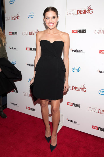 Allison chose a little black Christian Dior confection — complete with double-breasted buttons, miniature lapels, and side pockets — to go with dazzling Van Cleef jewels and pointed pumps at the NYC premiere of Girl Rising.