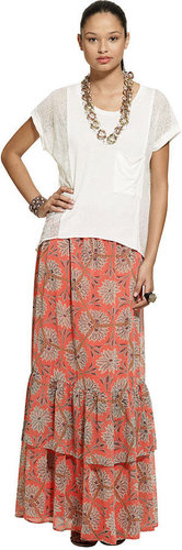 Bar III Skirt, Exotic-Print Ruffle Maxi