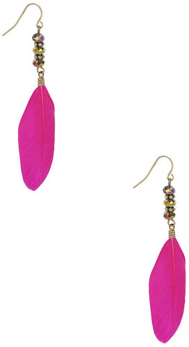 Forever 21 Beaded Feather Earrings