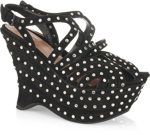 Alaïa Studded suede wedge sandals