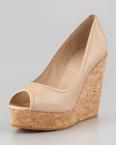 Jimmy Choo Papina Patent Cork Wedge, Natural