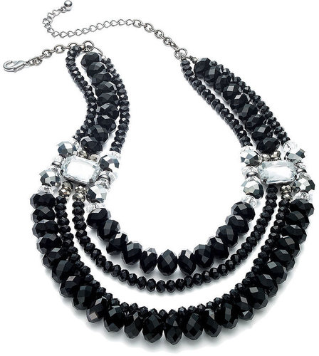 bar lll Bar III Necklace, Hematite Tone Jet Crystal Bead Layer Necklace